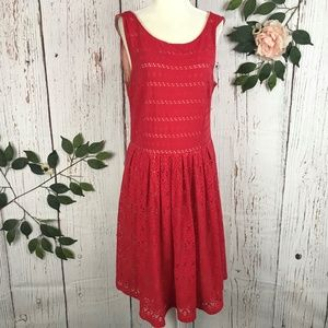 Anthropologie Red Lace Eyelet Dress